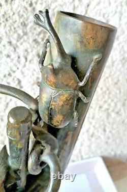Sculpture en bronze double vase époque art nouveau