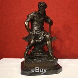Sculpture en bronze statue art base en marbre signé style ancien 900