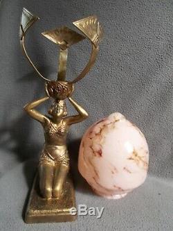 Sculpture porte vase 1930 art deco statue femme coul bronze era glass daum galle