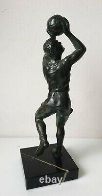 Sculpture statuette basketteur fonte d'art regule bronze art deco no le verrier