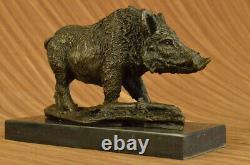 Signé Barye Sanglier Sauvage Pig Bronze Sculpture Figurine Art Déco Décor Maison
