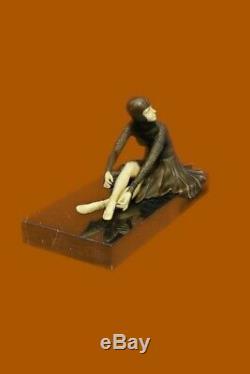 Signé Bronze Art Nouveau Déco Chiparus Statue Figurine Sculpture Figurine Solde