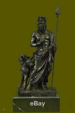 Signé Dieu Grec Pluto avec Chien Fonte Bronze Sculpture Figurine Statue Art Déco