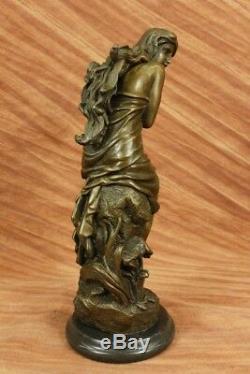 Signé Français Roche Fair Maiden Bronze Sculpture Art Déco Marbre Base Figurine