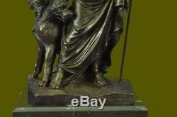 Signé Phidas Hades Pluto avec 3 Tête Chien Mythique Bronze Sculpture Statue Art
