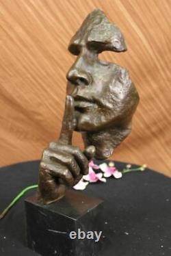 Signé Salvador Dali Abstrait Homme Hush Dessus Bronze Sculpture Moderne Art Cire
