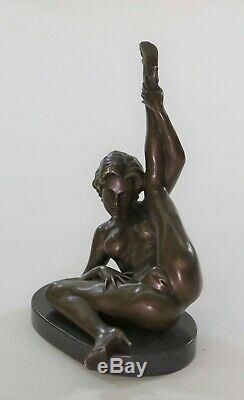 Signé Unique Bronze Sculpture Érotique Sexy Nude Femelle Forme Statue Art