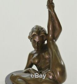 Signé Unique Bronze Sculpture Érotique Sexy Nude Femme Forme Art Statue Figurine