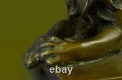 Signée Barye Africain Mâle Roi Lion De Jungle au Repos Bronze Sculpture Art Déco