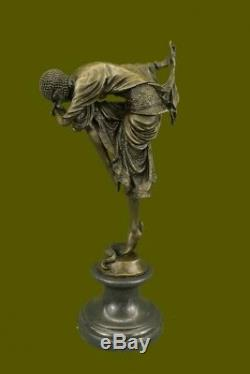 Signée Bronze Style Art Nouveau Deco Chiparus Statue Figurine Sculpture Large