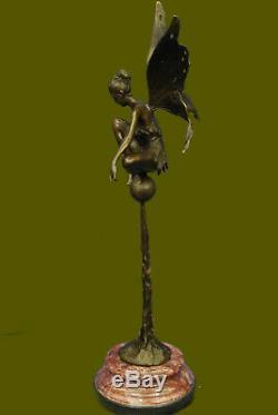 Signée Cesaro, Bronze Art Nouveau Ange Fairy Sculpture Figurine Fonte Décor