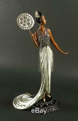 Signée Erte Fedora Art Déco Femme avec Ventilateur Bronze Sculpture 12K Liste