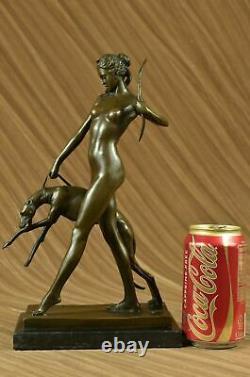 Signée Fonte Bronze Diana The Chasseresse Art Déco Nu Sculpture Statue Nr