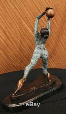 Signée Original Chair Érotique Art Gymnaste Acrobat Bronze Sculpture Statue Nr