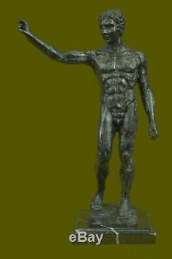 Signée Rodin Abstrait Moderne Art Déco Homme Nu Torse Bronze Sculpture Figurine