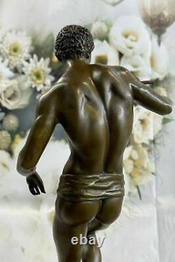 Signée Serpent Charmeur Bronze Marbre Sculpture Art Déco Figurine Base Décor