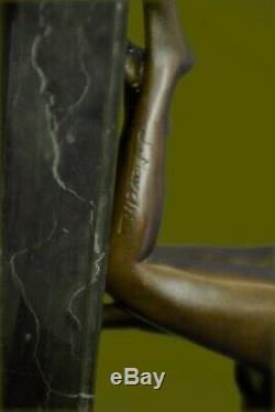 Signée Unique Bronze Sculpture Érotique Sexy Nude Femelle Forme Art Statue