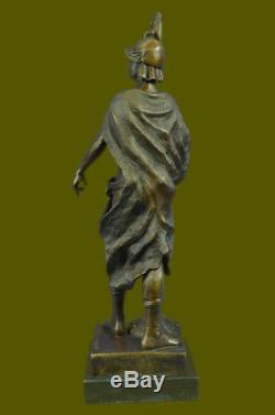 SignéePicaultRomain Soldat Buste Bronze Sculpture Marbre Base Art Déco