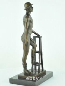 Statue Sculpture Athlete Nu Sexy Style Art Deco Bronze massif