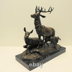 Statue Sculpture Cerf Animalier Chasse Style Art Deco Style Art Nouveau Bronze m