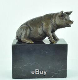 Statue Sculpture Cochon Animalier Style Art Deco Bronze massif Signe