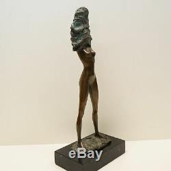 Statue Sculpture Danseuse Nue Sexy Pin-up Style Art Deco Bronze massif Signe