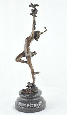 Statue Sculpture Danseuse Nue Sexy Style Art Deco Bronze massif Signe