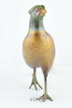 Statue Sculpture Faisan Oiseau Animalier Chasse Style Art Deco Bronze massif Sig