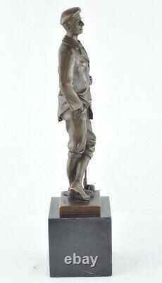 Statue Sculpture Golfeur Golf Style Art Deco Bronze massif Signe