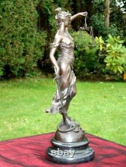Statue Sculpture La justice Themis Style Art Deco Bronze massif Signe