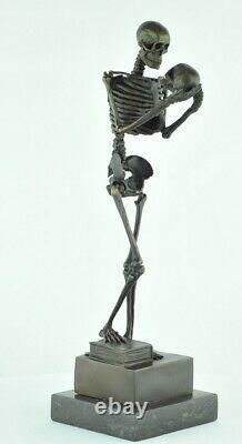 Statue Sculpture Le penseur Squelette Style Art Deco Style Art Nouveau Bronze ma