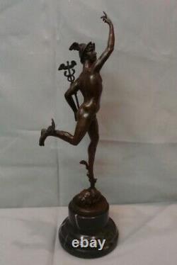 Statue Sculpture Mercure Nu Style Art Deco Style Art Nouveau Bronze massif Signe