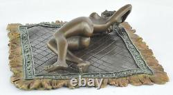 Statue Sculpture Nymphe Nue Sexy Style Art Deco Bronze massif Signe