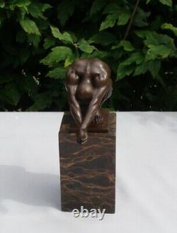 Statue Sculpture Plongeur Nu Style Art Deco Style Art Nouveau Bronze massif Sign