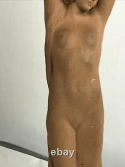 Statue Sylvestre Clerc Sculpture Art Deco Femme Nue terre cuite signée 43,5 Cm