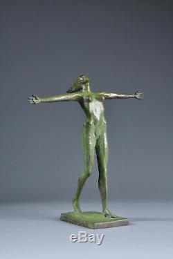 Statue bronze femme nue Art Déco Patine verte Old Sculpture Nude Woman brass
