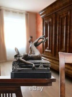 Statue érotisme art téléphone de bronze sculpture figurine 23cm