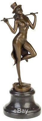 Statue femme danseuse érotisme art de bronze sculpture figurine 35cm