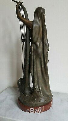 Statue sculpture femme bronze art déco signée Théophile Somme style leverrier