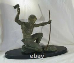 Statue signé G. HERVOR patine bronze ART DÉCO FORGERON 1930 sculpture