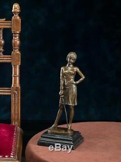 Statuette d´escrimeuse d´après Ferdinand Preiss style Art déco bronze