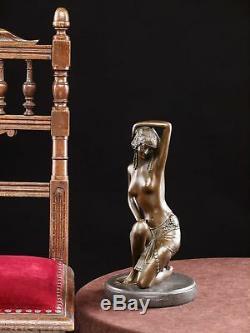 Statuette de danseuse posture érotique style Art déco bronze 30cm