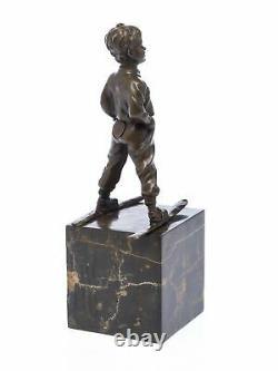 Statuette jeune garçon sur skis d´après Ferdinand Preiss style Art déco bronze