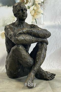 Superbe Art Déco Homme, Bronze Statue Dali Marbre Base Sculpture Bronze
