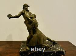 Superbe Et Grande Sculpture Arlequin Et Colombine En Bronze Époque Art Deco