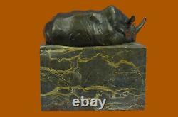 Superbe Et Réaliste Bronze Rhinocéros Sculpture Art Déco Figurine Marbre Base