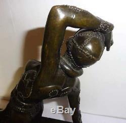 Superbe Statue Sculpture Bronze Femme Art Deco Danseuse Style Chiparus