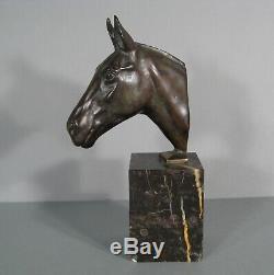 Tête De Cheval Presse-papier Sculpture Ancienne Bronze Art Déco Signé Le Verrier