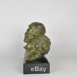Varnier, Couple d'amoureux, sculpture en bronze signée, art deco, XXème siècle
