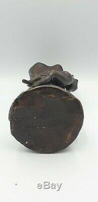 Vase Sculpture Suzanne BIZARD fee nymphe bronze art deco 1930 régule fonte d art